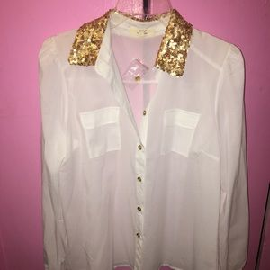 Tops - Sheer Button Down Blouse